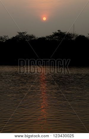 Image of sunset with reflex in water