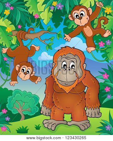 Orangutan theme image 3 - eps10 vector illustration.