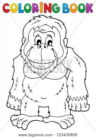 Coloring book orangutan theme 1 - eps10 vector illustration.