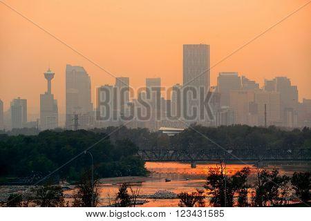 Calgary skyline silhouette in Alberta, Canada.