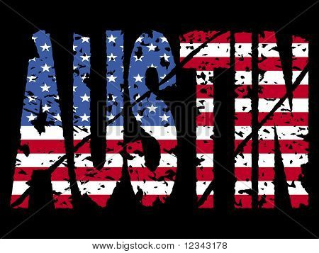 grunge Austin text with American flag illustration