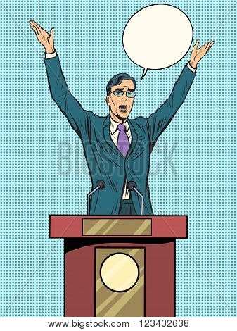 Emotional politician, electoral debates pop art retro style. Retro vector illustration. Man businessman speaking at the podium. Emotional speech