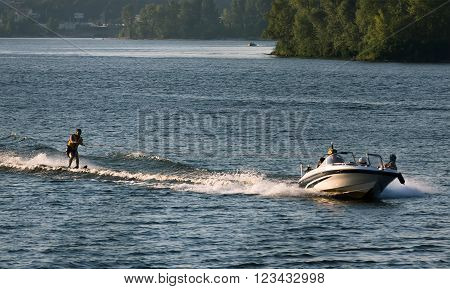 entertainment, walk on water skis on the Dnieper River in Kiev.