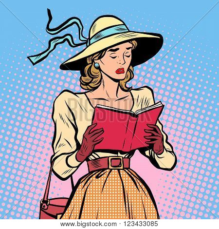 Vintage girl reading a book pop art retro style. Sad novel. Literature and culture