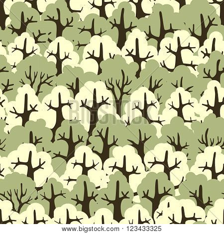 Seamless wallpaper abstract forest of deciduous trees.
