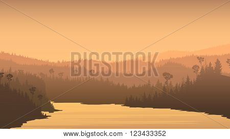Horizontal illustration of river between misty coniferous forest hills.