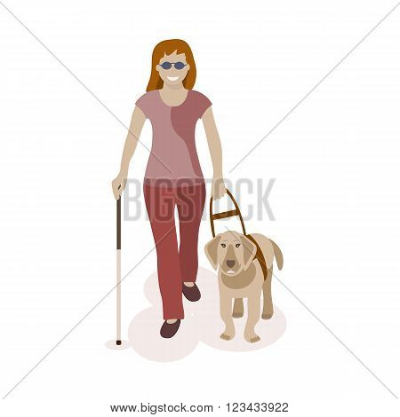 Blind woman walking with dog. Vector illlustration.