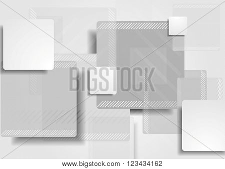 Grey tech abstract background. Vector geometric shapes monochrome design. Technology corporate illustration