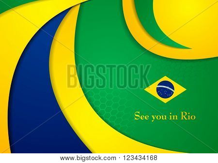 Brazil colors abstract corporate wavy background. Vector graphic design