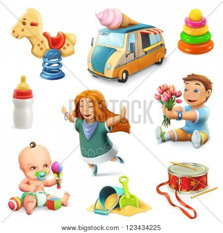 Kids and toys, set of vector icons