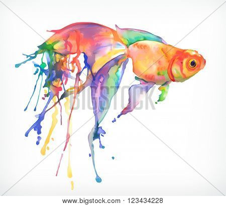 Watercolor painting, goldfish, vector illustration, isolated on a white background