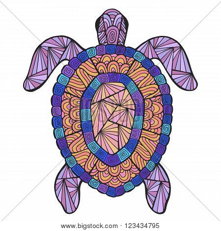 Vector stylized turtle with ethnic pattern. Marine theme in the style of Zen art.