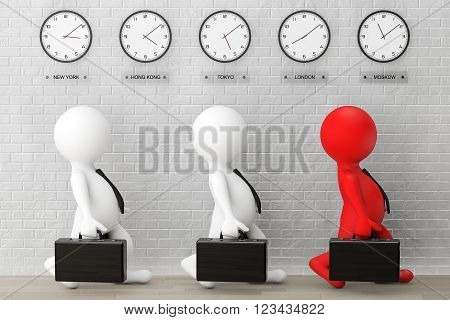 3d Businessmans running with a Briefcase in front of Time Zone Clocks and brick wall. 3d Rendering