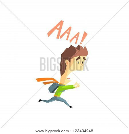 Scared Boy Flat Vector Emotion Illustration In Graphic Style Isolated On White Background