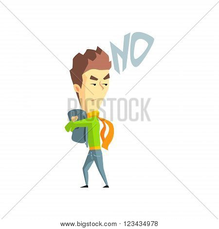Greedy Boy  Flat Vector Emotion Illustration In Graphic Style Isolated On White Background