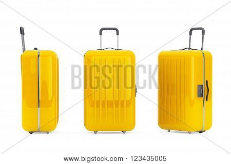 Large Yellow Polycarbonate Suitcases on a white background. 3d Rendering