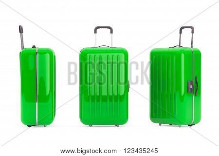 Large Green Polycarbonate Suitcases on a white background. 3d Rendering