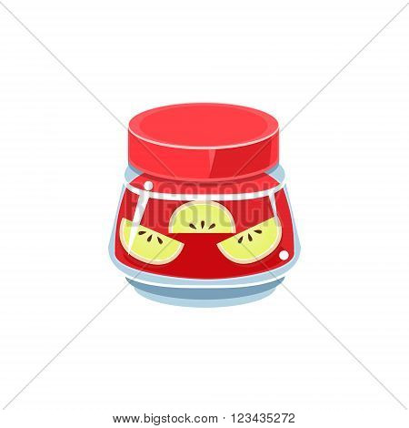 Slices Of Apple  In Transparent Jar Isolated Flat Vector Icon On White Backgroung In Simplified Manner