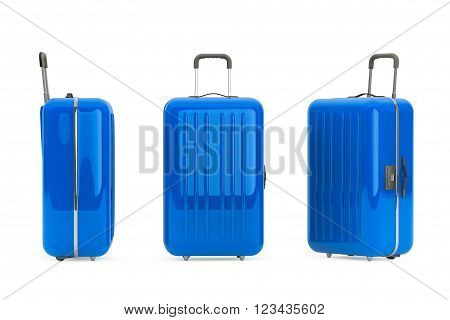 Large Blue Polycarbonate Suitcases on a white background. 3d Rendering