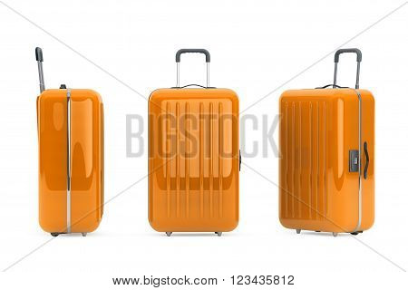 Large Orange Polycarbonate Suitcases on a white background. 3d Rendering
