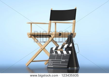 Director Chair Movie Clapper and Megaphone on a blue background. 3d Rendering