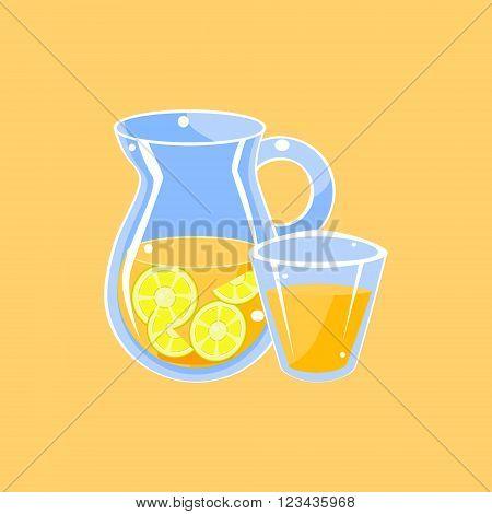 Jug Of Lemonade Cartoon Flat Vector Isolated Illustration On Yellow Background