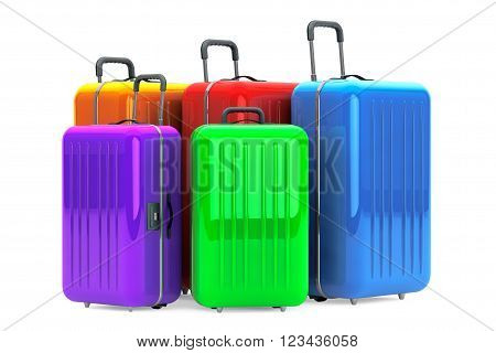 Large Multicolour Polycarbonate Suitcases on a white background. 3d Rendering