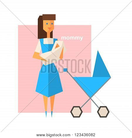 Mommy Holding The Baby Abstract Figure Flat Vector Illustration With Text