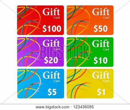 Multicolour Gift Cards Set on a white background