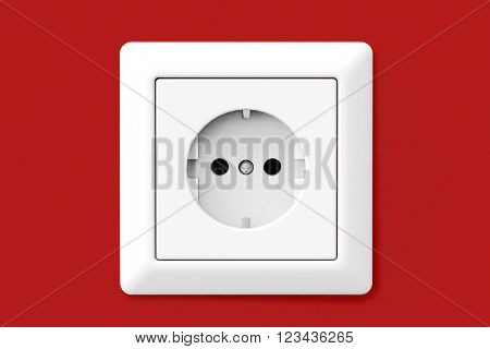 Power Electric Socket on a red wallpaper wall. 3d Rendering