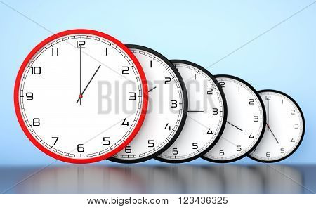 Time Management Concept. Round Modern Office Clocks on a blue background. 3d Rendering