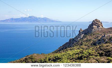 Aegean Sea landscape. A view from greek Kos island.