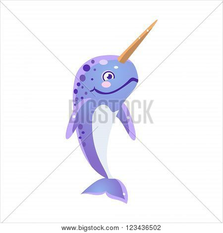 Blue Narwhal Character Isolated Flat Childish Colorful Vector Icon On White Background