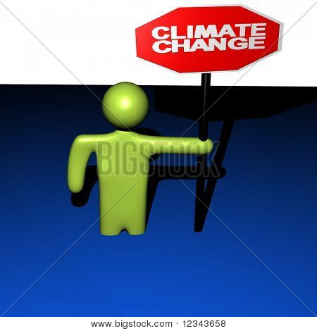abstract person with stop climate change standing in water illustration