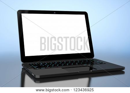 Laptop with Blank Screen on a blue background. 3d Rendering