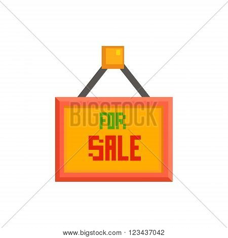 For Sale Sign  8-bit Abstract Primitive Flat Vector Illustration On White Background