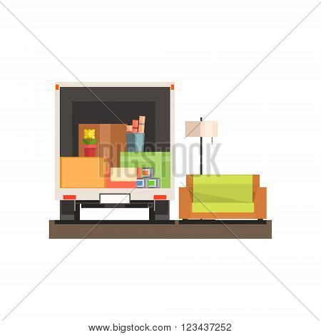 Room Interior With Sofa And Boxes  8-bit Abstract Primitive Flat Vector Illustration On White Background