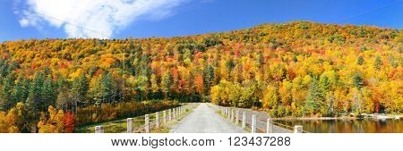 Countryside panorama view of Stowe with Autumn mountains and forest