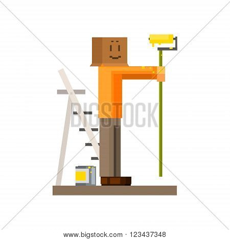 Man Painting The Wall With Box On his Head8-bit Abstract Primitive Flat Vector Illustration On White Background