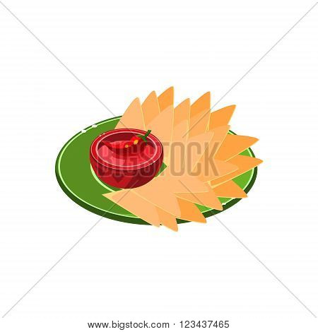 Nachos On Plate  Traditional Mexican Cuisine Sample Vector Drawing In Realistic Cartoon Style Isolated On White Background