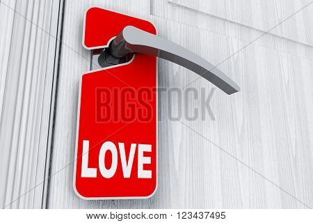 Door with Do Not Disturb Tag and Love sign extreme closeup. 3d Rendering