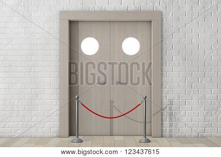 Door with Rope Barrier in front of Brick Wall extreme closeup. 3d Rendering