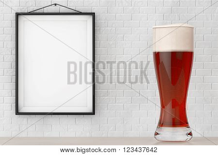 Glass of Beer in front of Brick Wall with Blank Frame extreme closeup. 3d Rendering