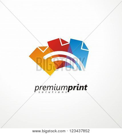 Creative symbol idea for printing shop. Colorful paper document shapes with lines in negative space. Logo design idea for offset printing. CMYK logo template. Printing solutions layout.