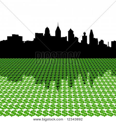 Philadelphia Skyline with dollar symbols illustration