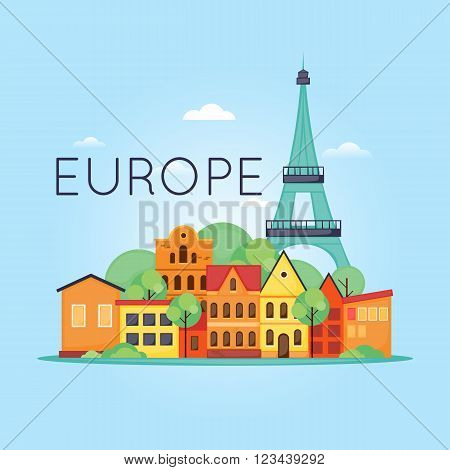 Europe Travel, old European city, trip to France, city and the Eiffel Tower. Flat design vector illustration.