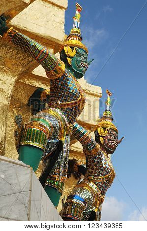 Mythical decorated figures Grand Palace Bangkok Thailand. ** Note: Visible grain at 100%, best at smaller sizes