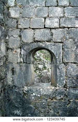 Window to the fortifications of the city of Kotor (Montenegro)