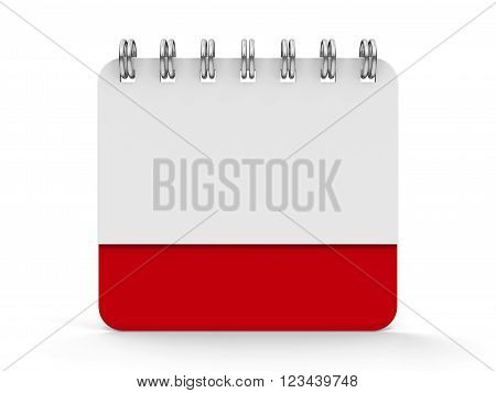 Blank calendar icon with spiral three-dimensional rendering, 3d illustration
