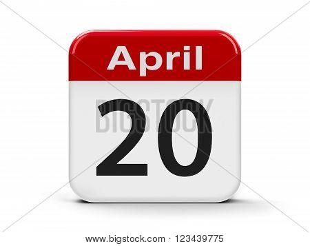 Calendar web button - Twentieth of April three-dimensional rendering, 3d illustration
